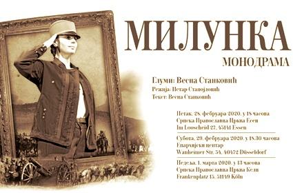 Najava – Monodrama o Milunki Savić u Esenu, Diseldorfu i Kelnu (28.2.-1.3.2020)