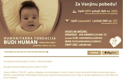 Humanitarna fondacija BUDI HUMAN prikuplja sredstva za VANjU MALOVIĆ (2021)